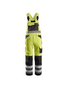 Snickers 0113 High Visibility Bib & Brace Klasse 2 - High Vis Yellow/Muted Black