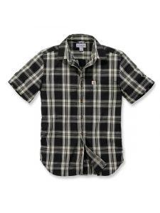 Carhartt 103668 s/s Essential Open Collar Shirt Plaid - Black