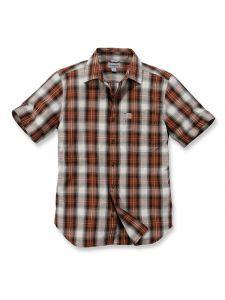 Carhartt 103668 s/s Essential Open Collar Shirt Plaid - Sequoia