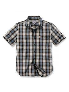 Carhartt 103668 s/s Essential Open Collar Shirt Plaid - Steel Blue
