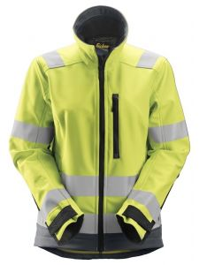 Snickers 1237 AllroundWork, High-Vis Softshell Damesjack Klasse 2/3 - High Vis Yellow/Steel Grey