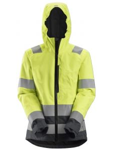 Snickers 1347 AllroundWork, High-Vis Waterproof Shell Damesjack Klasse 2/3 - High Vis Yellow/Steel Grey