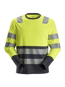 Snickers 2433 AllroundWork, High-Vis T-Shirt l/m Klasse 2 - High Vis Yellow/Steel Grey