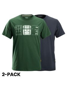 Snickers 2522 AllroundWork, T-Shirt met Artwork Print, 2-pack - Forest Green/Navy