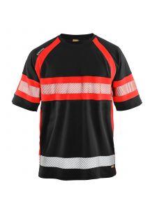 UV Polo Shirt High Vis 3337 Zwart/High Vis Rood - Blåkläder