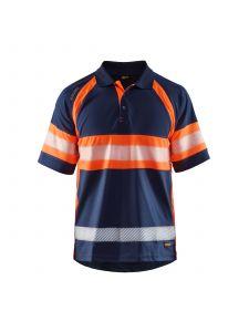 UV Polo Shirt High Vis Class 1 3338 Marineblauw/Oranje - Blåkläder
