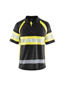 UV Polo Shirt High Vis Class 1 3338 Zwart/High Vis Geel - Blåkläder