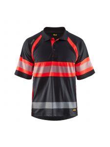 UV Polo Shirt High Vis Class 1 3338 Zwart/High Vis Rood - Blåkläder
