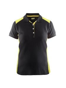 Blåkläder 3390-1050 Women's Pique Polo Shirt - Black/High Vis Yellow