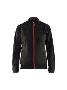Ladies Sweatshirt With Full Zip 3394 Zwart/Rood - Blåkläder
