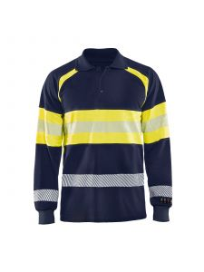 Multinorm Pique Long Sleeves 3438 Marine/High Vis Geel - Blåkläder