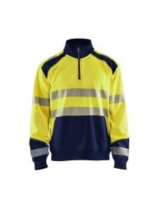 High Vis Sweatshirt With Half Zip 3556 High Vis Geel/Marine - Blåkläder