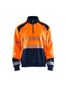 High Vis Sweatshirt With Half Zip 3556 High Vis Oranje/Marine - Blåkläder
