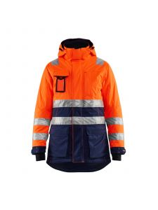 Ladies High Vis Winter Parka 4472 High Vis Oranje/Marineblauw - Blåkläder