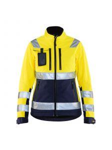 Ladies High Vis Softshell Jacket 4902 High Vis Geel/Marineblauw - Blåkläder