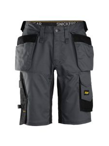 Snickers 6151 AllroundWork, Stretch Loose fit Korte Werkbroek met Holsterzakken - Steel Grey