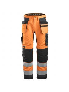 Snickers 6230 AllroundWork, High-Vis Werkbroek+ Holsterzakken Klasse 2 - Orange/Steel Grey