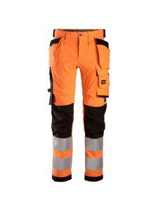 Snickers 6243 High-Vis Stretch Werkbroek met Holsterzakken Klasse 2 - Orange/Black