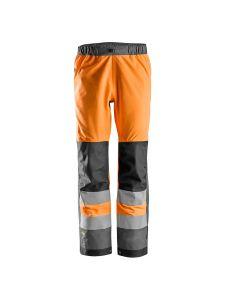Snickers 6530 AllroundWork, High-Vis Waterproof Shell Werkbroek Klasse 2 - Orange/Steel Grey