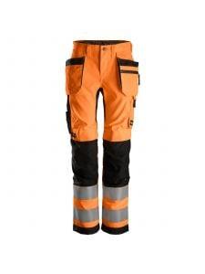 Snickers 6730 AllroundWork, Dames High-Vis Werkbroek+ Holsterzakken Klasse 2 - Orange/Black