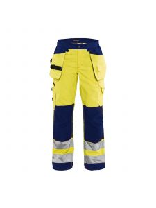 Ladies High Vis Trousers 7156 High Vis Geel/Marineblauw - Blåkläder