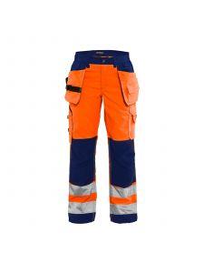 Ladies High Vis Trousers 7156 High Vis Oranje/Marineblauw - Blåkläder