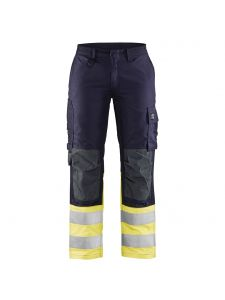 Ladies Multinorm Inherent Trouser 7188 Navy Blue/Yellow - Blåkläder