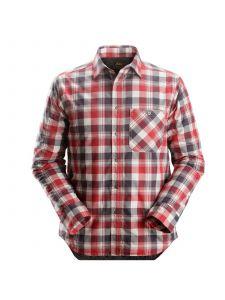 Snickers 8501 RuffWork, Geruit Gevoerd Flanellen Shirt l/m - Steel Grey/Chili Red
