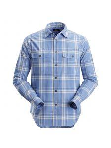 Snickers 8502 RuffWork, Geruit Flanellen Shirt l/m - Cloud Blue/Steel Grey