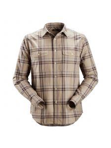 Snickers 8502 RuffWork, Geruit Flanellen Shirt l/m - Khaki/Cloud Blue