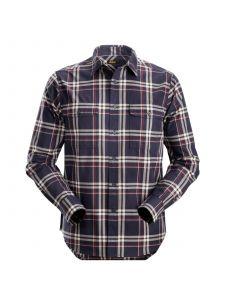 Snickers 8502 RuffWork, Geruit Flanellen Shirt l/m - Navy/Chili Red