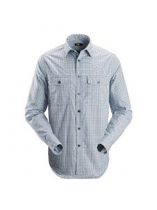 Snickers 8507 AllroundWork, Geruit Comfort Shirt l/m - Cloud Blue/Navy