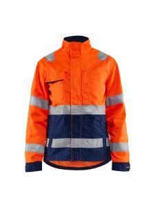 Ladies High Vis Jacket 4903 High Vis Oranje/Marineblauw - Blåkläder