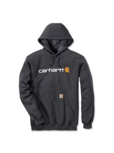Carhartt 100074 Signature Logo Midweight Hooded Sweatshirt - Carbon Heather