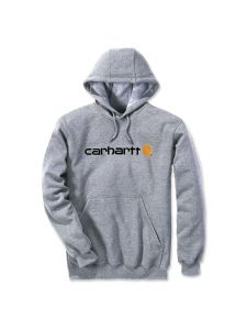 Carhartt 100074 Signature Logo Midweight Hooded Sweatshirt - Heather Grey