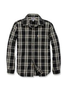 Carhartt 103667 l/s Essential Open Collar Shirt Plaid - Black