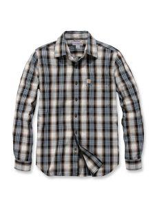 Carhartt 103667 l/s Essential Open Collar Shirt Plaid - Steel Blue