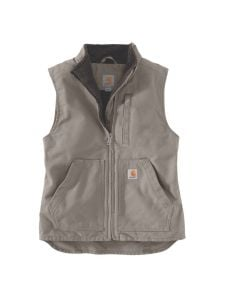 Carhartt 104224 Women's Washed Duck Sherpa Lined Mock Neck Vest - Taupe Grey